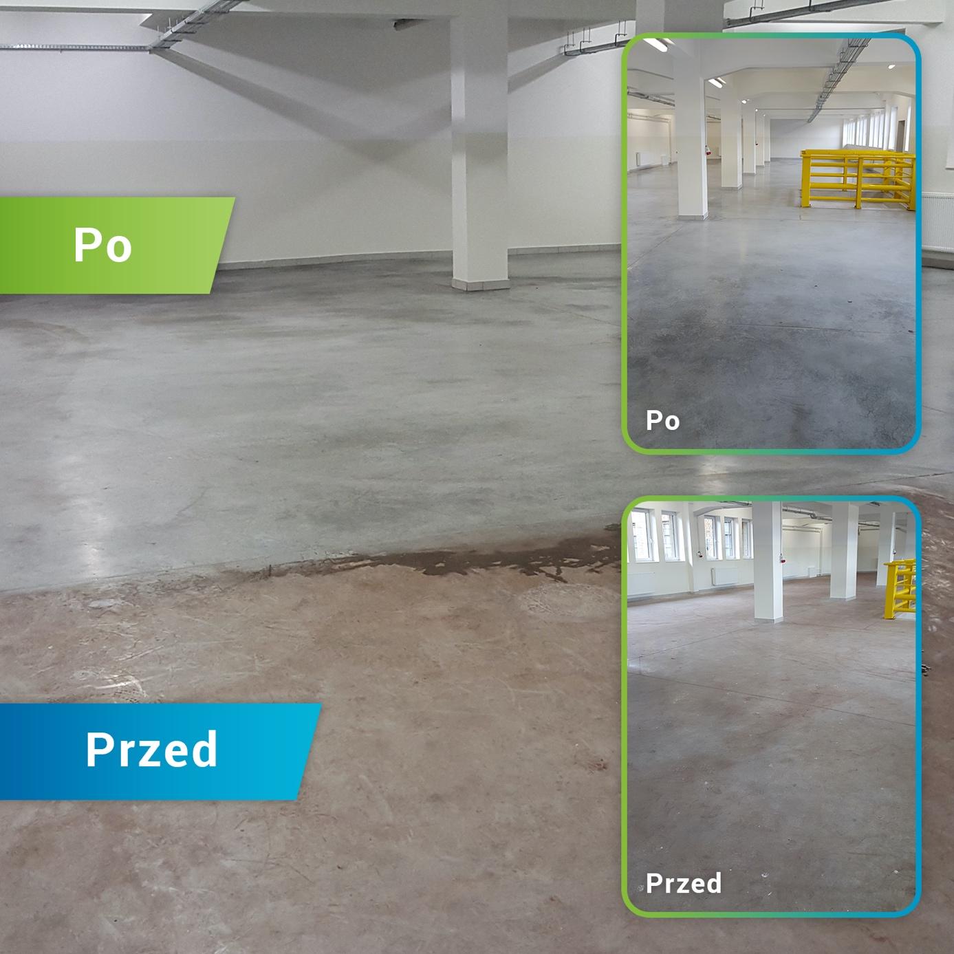 Maszynowe czyszczenie posadzek - zdjęcie przed i po