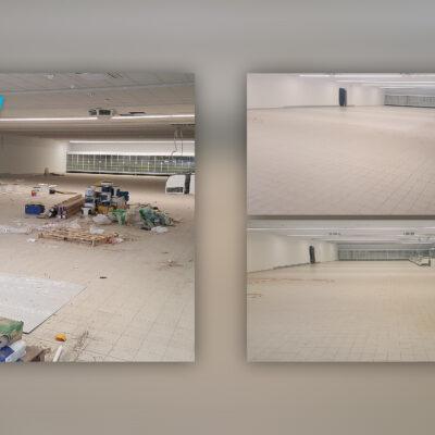 Czyszczenie hali - przed i po