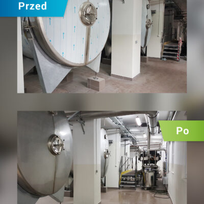 Sprzątanie hali - przed i po