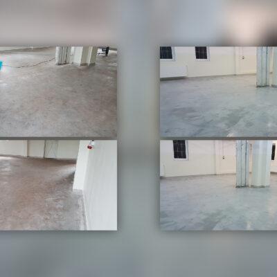Maszynowe czyszczenie podłóg - przed i po
