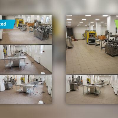 Czyszczenie hali przemysłowej - przed i po